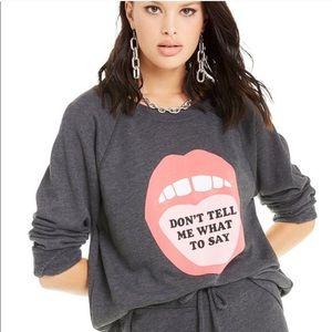 WILDFOX Don't tell me what to say gray graphic top